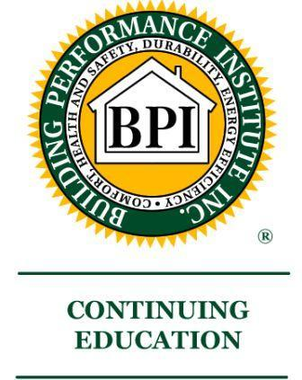 16 BPI CEU Package - Option B (RESNET EnergySmart Contractor & BPI Building Science Principles)